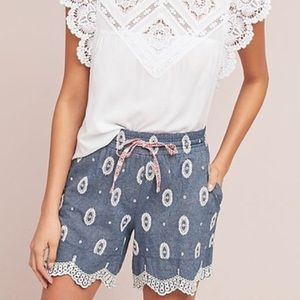 Ett:twa Embroidered Chambray Drawcord Shorts